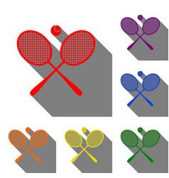 Tennis racket sign set of red orange yellow vector