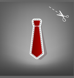 tie sign red icon with for vector image vector image