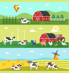 web banner farm farmers farm animals vector image