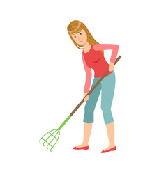 Woman with rake gardening cartoon adult vector