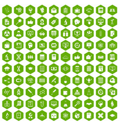 100 analytics icons hexagon green vector