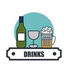 Drinks menu restaurant isolated icon vector