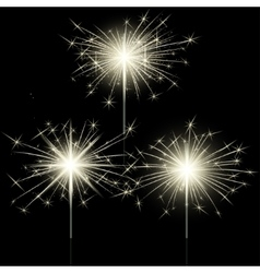 Closeup isolated sparkler shine bengal lights for vector