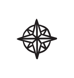 Compass wind rose sketch icon vector