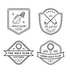 golf logo set sports club linear vector image