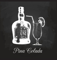 hand sketched rum bottle and pina colada glass vector image
