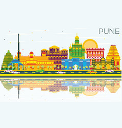 Pune skyline with color buildings blue sky and vector