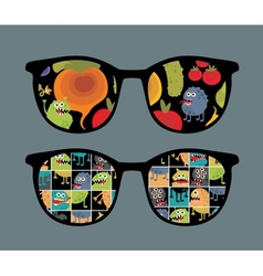 Retro sunglasses with monster and vegetables vector