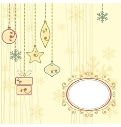 Winter background with christmas ornaments vector