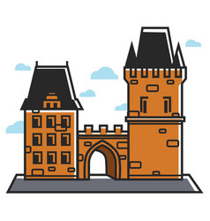 Prague castle czech travel tourist attractions and vector