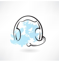Headset with microphone grunge icon vector
