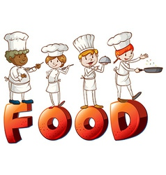 Food artwork with chefs vector