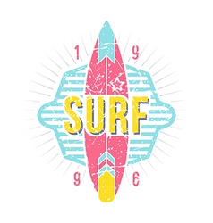 Surfing emblem in retro style vector