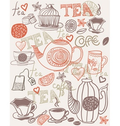 Hand drawn tea and coffee vector