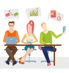 Three sitting at the table Business people vector image
