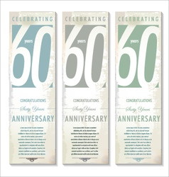 60 years anniversary retro banner set vector