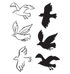 Birds flying silhouettes vector