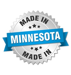 Made in minnesota silver badge with blue ribbon vector