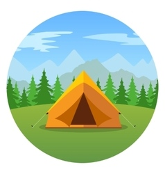Cartoon tent in a landscape of mountains icon vector