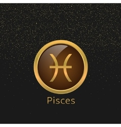 Golden pisces sign vector