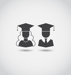 Graduation man and woman icons vector