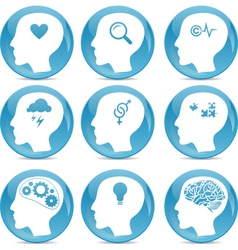 Head silhouette icons vector