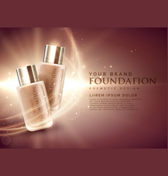 Awesome cosmetic foundation product ads 3d concept vector