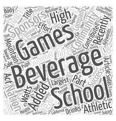 Beverage company sponsors teen games word cloud vector