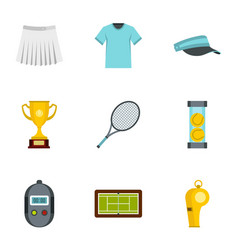 Big tennis icons set flat style vector
