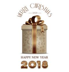 Christmas banner 2018 with gift box vector