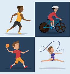 Color square buttons set of athletes of differents vector