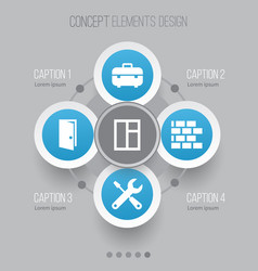 Construction icons set collection of glass frame vector