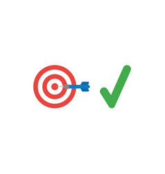 Flat design style concept of bulls eye with dart vector