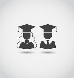 Graduation Man and Woman Icons vector image