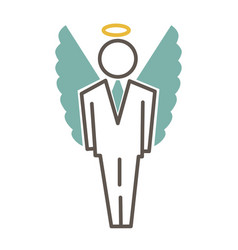 Graphic man in costume and with angel wings and vector