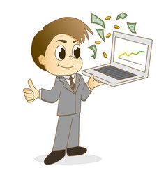 handsome businessman using a laptop vector image