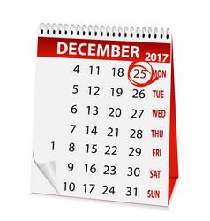 Holiday calendar for christmas 2017 vector