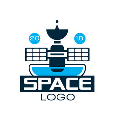 logo of orbiting space station with satellite vector image vector image