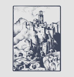medieval castle in the hill in tuskany italy vector image vector image