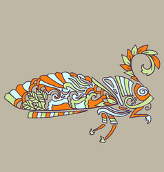 Moth with ethnic floral ornaments zentagle vector