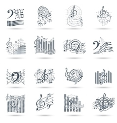 Music notes black icons set vector