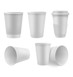 Realistic coffee cup mock up set vector image vector image