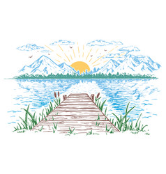 Rising sun on the lake landscape vector