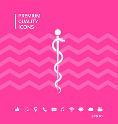 Rod of asclepius snake coiled up silhouette vector