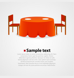 Round table with tablecloth and two chairs vector