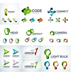 Set of abstract geometric web icons logos vector