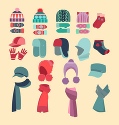 set of hats and for boys and girls in cold weather vector image