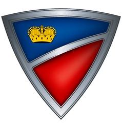 steel shield with flag liechtenstein vector image vector image
