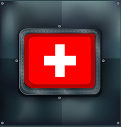 Switzerland flag on metalic background vector