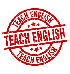 Teach english round red grunge stamp vector